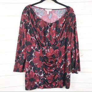 [Dressbarn] Red Floral Tummy Ruched Panel Top
